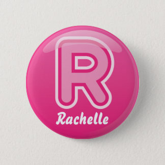 Button Letter R Pink Bubble