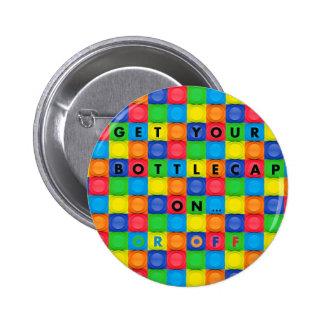 Button/Pin with Fun Bottlecap Design 6 Cm Round Badge