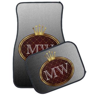 Button RETRO GOLD CROWNS + your monogram Car Mat