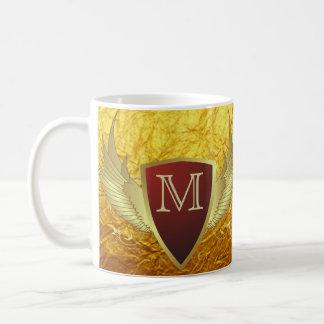 Button RETRO GOLD WINGS II + your monogram Mug