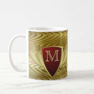 Button RETRO GOLD WINGS II + your monogram Mugs