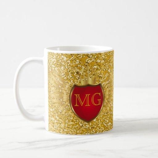Button RETRO GOLD WINGS + your monogram Mug
