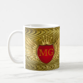 Button RETRO GOLD WINGS + your monogram Mugs