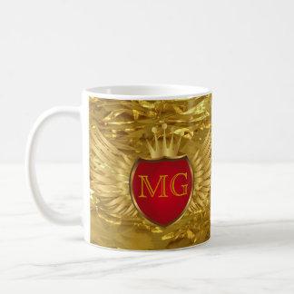 Button RETRO GOLD WINGS + your monogram Coffee Mug
