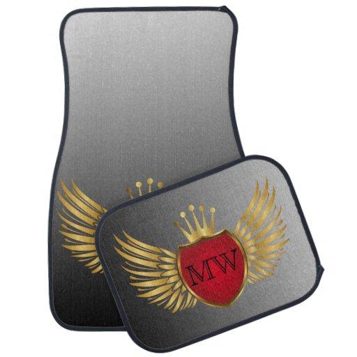 Button RETRO GOLD WINGS + your monogram Car Mat