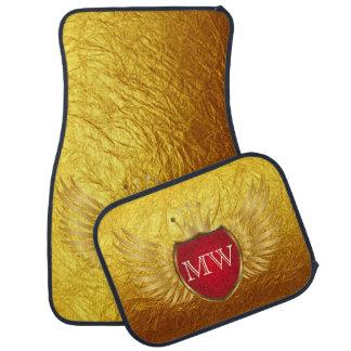Button RETRO GOLD WINGS + your monogram Floor Mat