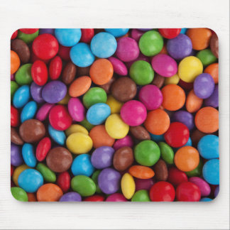 Button-Shaped Candy - Purple Pink Orange Green Mouse Pad