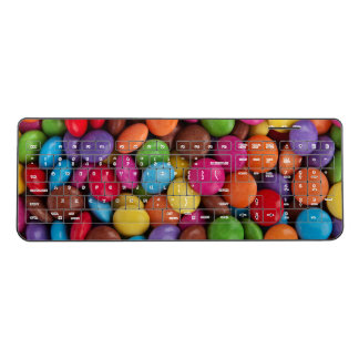 Button-Shaped Candy - Purple Pink Orange Green Wireless Keyboard