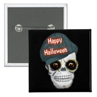 Button Skeleton Head Happy Halloween