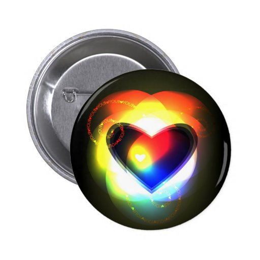 Button with  abstract shining heart