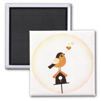 Button with Bird : original Illustration Square Magnet
