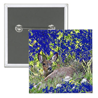 Button with Deer lying in Blue and Green Backgroun