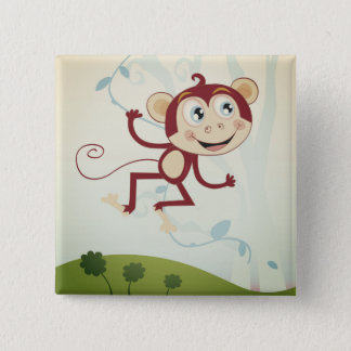 Button with Monkey : original Drawing