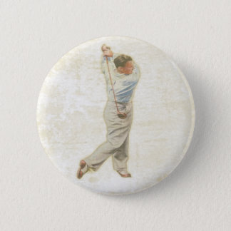 Button with Vintage Golf Player