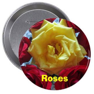 Button - Yellow-Red Roses
