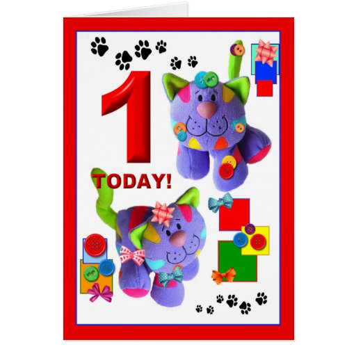 BUTTONS & BOWS The Kittens 1st. Birthday Cards