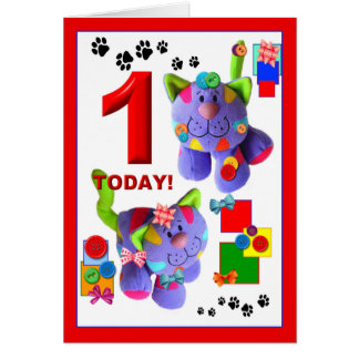 BUTTONS & BOWS The Kittens 1st. Birthday Greeting Card