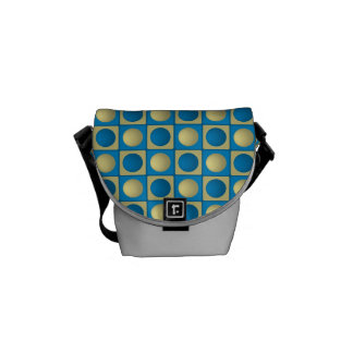 Buttons in Squares Blue Mini Messenger Bag