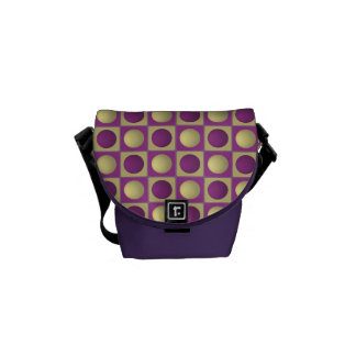 Buttons in Squares Purple Mini Messenger Bag