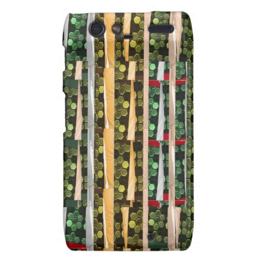 Buttons n Cut Fabric Pattern Art : Greetings Bless Droid RAZR Case