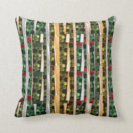 Buttons n Cut Fabric Pattern Art : Greetings Bless Pillows