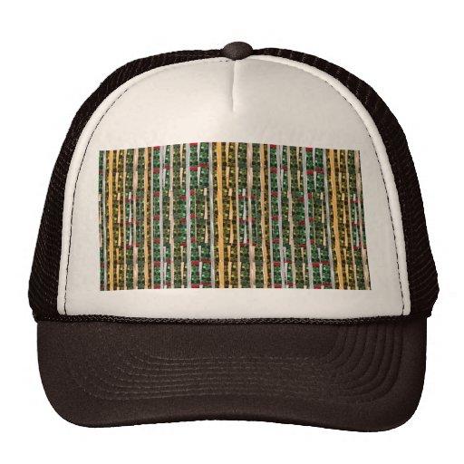 Buttons n Cut Fabric Pattern Art : Greetings Bless Mesh Hats