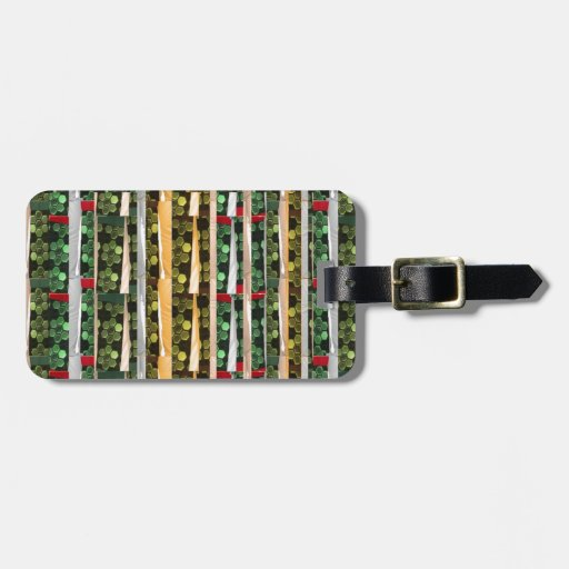 Buttons n Cut Fabric Pattern Art : Greetings Bless Travel Bag Tag