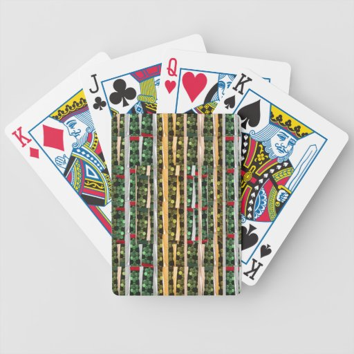 Buttons n Cut Fabric Pattern Art : Greetings Bless Playing Cards
