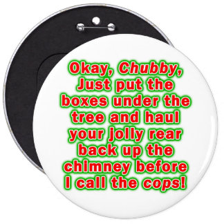 Buttons, Pins - Bad Chubby Santa