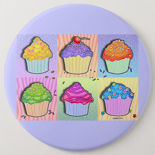 Buttons, Pins - Pop Art Cupcakes