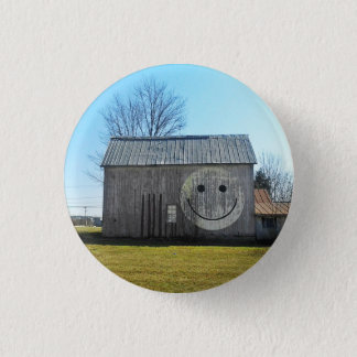 Buttons, Vintage Americana Smiley Face Barn 3 Cm Round Badge