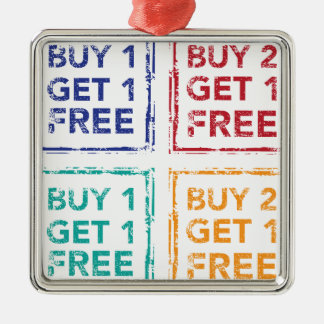 Buy 1 Get 1 Free Stamp Buy 2 Get 1 Free Silver-Colored Square Decoration