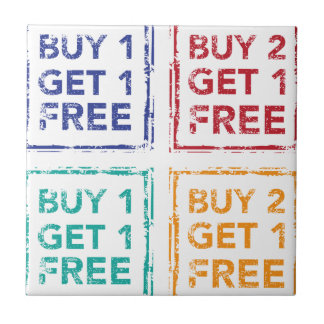 Buy 1 Get 1 Free Stamp Buy 2 Get 1 Free Small Square Tile
