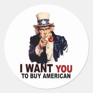 Buy American Round Sticker