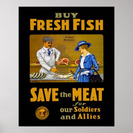 Buy Fresh Fish Vintage WW1 Print