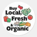 Buy Local, Fresh & Organic Round Sticker