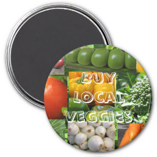 Buy Local Veggies 7.5 Cm Round Magnet