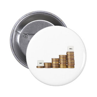 Buy low sell high 6 cm round badge