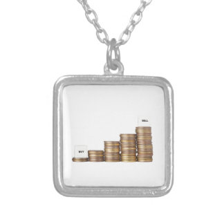 Buy low sell high silver plated necklace