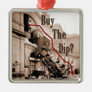 Buy The Dip Stock Market Humor Metal Ornament