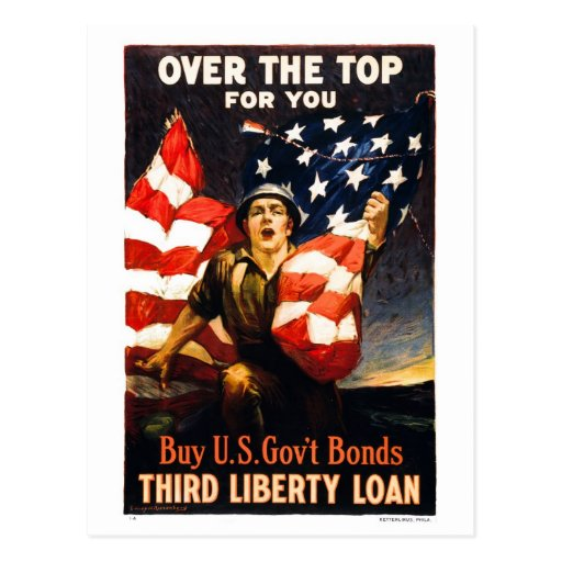 Buy U.S. War Bonds, Over the top for you Postcards