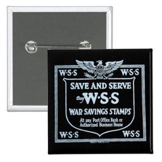 Buy War Savings Stamps Vintage World War I Pinback Button