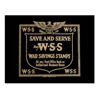 Buy War Savings Stamps Vintage World War I Postcard
