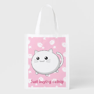 Buying catnip funny fat cute kawaii white cat reusable grocery bag