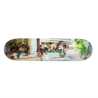 Buying items in these shops on the street skateboards