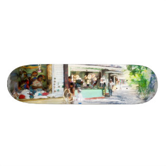 Buying items in these shops on the street skateboard