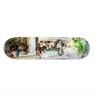 Buying items in these shops on the street skate boards