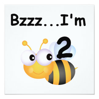 Buzz Bumblebee 2nd Birthday T-shirts and Gifts 13 Cm X 13 Cm Square Invitation Card