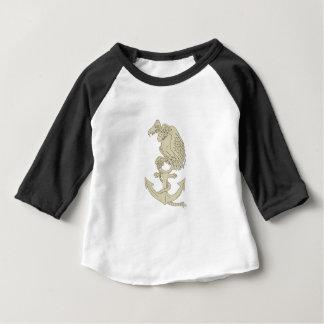 Buzzard Perching Navy Anchor Cartoon Baby T-Shirt
