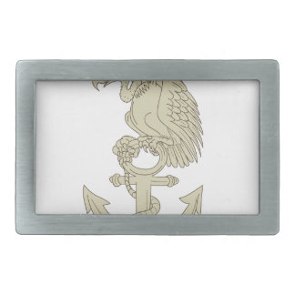 Buzzard Perching Navy Anchor Cartoon Belt Buckle